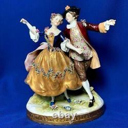 Antique original porcelain couple figurine Nicolas Camargo Dancer 1730 VOLKSTEDT