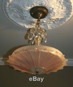 Antique pink glass sunflower shade Art Deco ceiling light fixture custom built