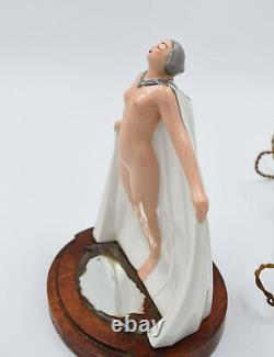Argilor Paris Lampe en porcelaine lamp veilleuse Art Deco FRANCE