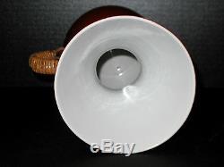 Art DECO Retro VINTAGE Carafe TEA POT Wicker Ratan Handle JAPAN Porcelain
