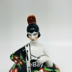 Art Deco 1930s Porcelaine Ceramic Bonbonniere France Spanish Dancer Flamenco