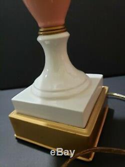 Art Deco Antique Davart Lenox Porcelain Urn Vase Pink Cream Brass Table Lamp
