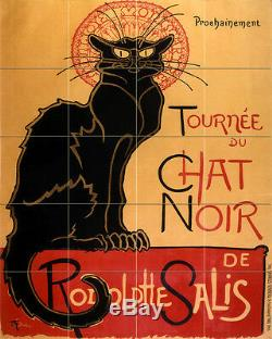 Art Deco Cat Vintage Chat Noir Ceramic Mural Backsplash Bath Tile #2291