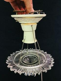 Art Deco Ceiling Light Porcelain Fixture W Suspended Starburst Clear Glass Shade