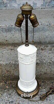 Art Deco Copeland Spode Ivory Floral Pottery Cylinder Lamp Duplex Brass Sockets
