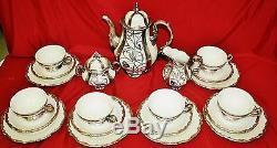 Art Deco Deusch, Hertel and Jacob Sterling Overlay German Porcelain 21 PcTea Set