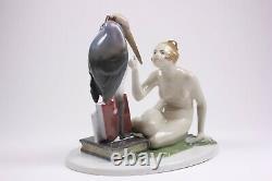 Art Deco Fraureuth Kunstabstellung Porcelain Nude and Stork Figure Circa 1925