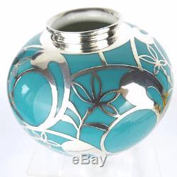 Art Deco Fürstenberg Porzellan Vase, Sterling Silber, Porcelain Silveroverlay 1930
