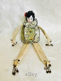 Art Deco German Porcelain Flapper Lady Half Doll Head Pin Cushion Ensemble