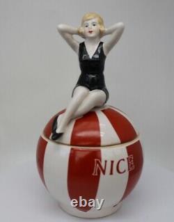 Art Deco-German Style Box Jewelry Figurine Nice Bathing Beauty Sexy Art Nouveau
