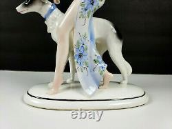 Art Deco Hertwig Katzhutte Germany Porcelain Lady Walking Borzoi Dog Figurine