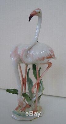 Art Deco Hutschenreuther-rosenthal Porcelain Flamingo Couple Bird Figurine