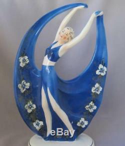 Art Deco Lady Porcelain Goldscheider Era Katzhuette Katzhutte Tettau Germany