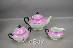Art Deco Pink White Black Lusterware Tea Set Czechoslovakia Teapot Sugar Creamer