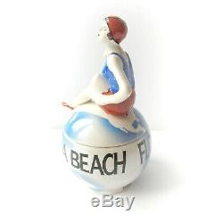 Art Deco Porcelain Ceramic Flapper Girl on Beach Ball Tinket Florida Beach