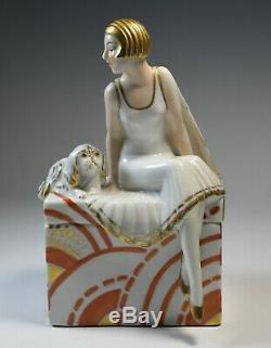 Art Deco Porcelain Figural Powder Box Perfume Vanity Woman & Dog Sculpture Mint