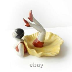 Art Deco Porcelain Flapper Girl Bathing Beauty Trinket Figure Ornament