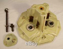 Art Deco Porcelier Yellow Porcelain Slip Shade Ceiling Light Fixture Antique 30s