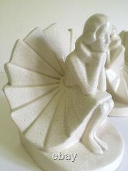 Art Deco Rare Figural Seated Woman German Craquelure Porcelain Bookends A Pair