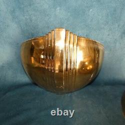 Art Deco Revival Paire d'Appliques Vasque en Porcelaine Email Doré circa 1980