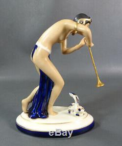 Art Deco Royal Dux Porcelain Figure Figurine Snake Charmer Nude Dancer Girl Horn