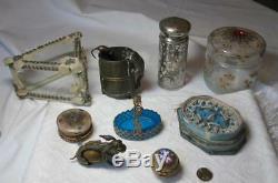 Art Deco Scarab Earrings Egyptian Revival Lotus Sterling Silver Antique c1920