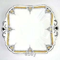 Art Deco Shelley Cake Plate 11205 Queen Anne Yellow Black Porcelain 1920 Vintage