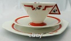 Art Deco Shelley Vogue Red J Tea Trio 11739 c 1930