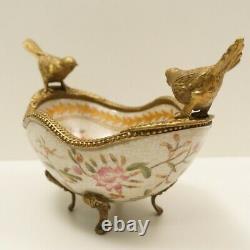 Art Deco Style Bowl Centerpiece Bird Basket Art Nouveau Style Porcelain Bronze