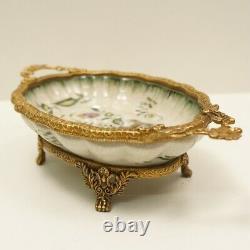 Art Deco Style Bowl Centerpiece Flower Art Nouveau Style Porcelain Bronze