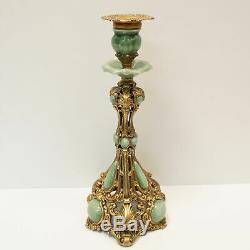 Art Deco Style Candlestick Art Nouveau Style Porcelain Bronze Ceramic