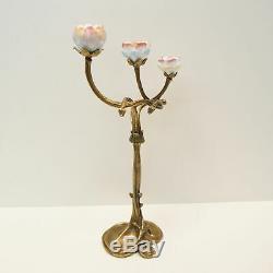 Art Deco Style Candlestick Flowers Art Nouveau Style Bronze Ceramic Porcelain
