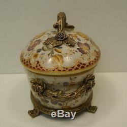 Art Deco Style Centerpiece Box Flower Art Nouveau Style Porcelain Bronze