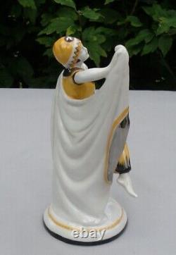 Art Deco Style Figurine Statue Dancer Art Nouveau Style Porcelain Enamels