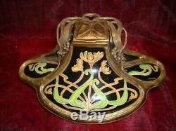 Art Deco Style Inkwell Flower Art Nouveau Style Porcelain Bronze Ceramic