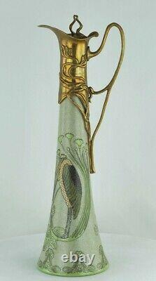 Art Deco Style Pitcher Pitcher Bird Art Nouveau Style Porcelain Bronze