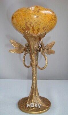 Art Deco Style Vase Figurine Dragonfly Wildlife Art Nouveau Style Porcelain Bron