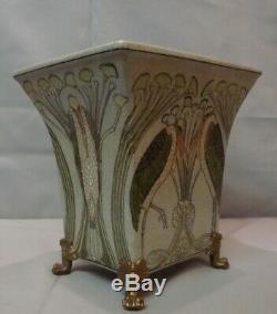 Art Deco Style Vase Marabou Bird Art Nouveau Style Porcelain Bronze
