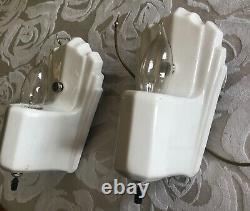 Art Deco White Porcelain Vintage Bathroom or Bedroom Sconces Fixtures