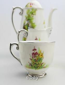 Art Deco antique English porcelain Roslyn Peacehaven Swan Lake Coffee Set C. 1930