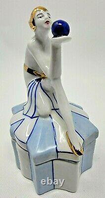Art Nouveau / Deco Style Box Jewelry Figurine Gazing Beauty Sexy Germany