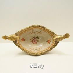 Art Nouveau Style Bowl Centerpiece Bird Basket Art Deco Style Porcelain Bronze