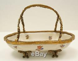 Art Nouveau Style Bowl Centerpiece Flower Art Deco Style Porcelain Bronze