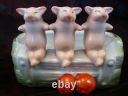 Art Nouveau Style Bowl Figurine Pig Wildlife Art Deco-German Style Porcelain