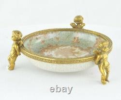 Art Nouveau Style Bowl Soapdish Figurine Baby Art Deco Style Porcelain Bronze