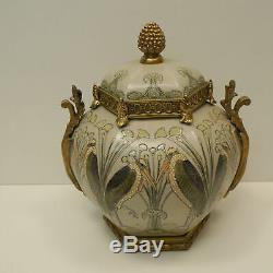 Art Nouveau Style Box Jewelry Marabou Bird Art Deco Style Porcelain Bronze