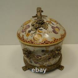 Art Nouveau Style Centerpiece Box Flower Art Deco Style Porcelain Bronze