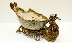 Art Nouveau Style Centerpiece Fruit plate Flower Art Deco Style Porcelain Bronze
