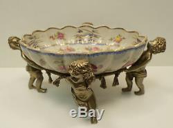 Art Nouveau Style Centerpiece Fruit plate Flower cherub Baby Art Deco Style Porc