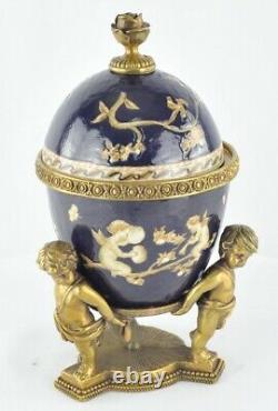 Art Nouveau Style Centerpiece Urn Angel Art Deco Style Porcelain Bronze